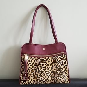 Antonio Milani Two Way Zip Leopard Print Bag